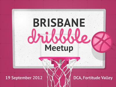 Brisbane Dribbble Meetup meetup brisbane dribbble pink vector basketball rim