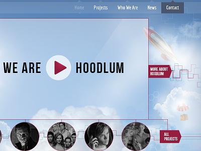 Hoodlum site design web design navigation clouds rocket lines connect