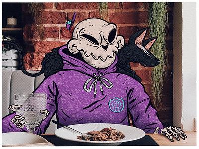 Skull story cartooncharacter character style drawing illustration street food collage photoillustration skull art instagram vegan go vegan