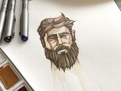 Bearded man kavoon milestone drawing watercolor man bearded