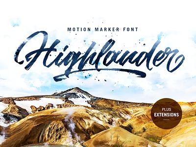 'Highlander' marker script extensions hand made handwritten branding logo personal motion marker font script