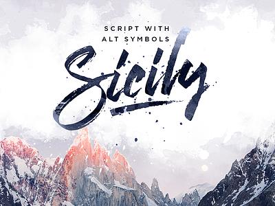 Sicily Script Font logo branding lettering brush marker font script