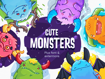 Cute Monsters Pack invitations stickers creatures digital fairy tail baby kids horns forest pattern tooth diy craft vector graphicdesgn illustration cute character art monster
