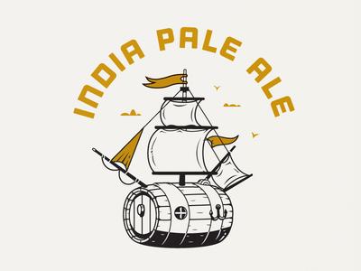 Beer label. beer label boat barrel ipa