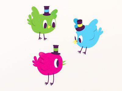 Pájaros. birds vectorial characters.