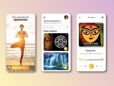 Yoga Meditation app ui design ux uxui product design onboarding design meditation app yoga app mobile app meditation yoga vector branding logo ui onboarding mobile illustration graphic design design app