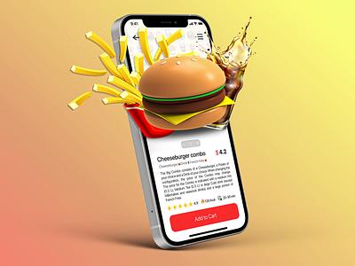 Food Delivery App mobile design product design uxui burger delivery app food app motion design motion graphics animation 3d typography vector logo branding ux ui illustration graphic design design app