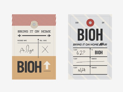 BIOH Business Cards business cards travel plane boarding