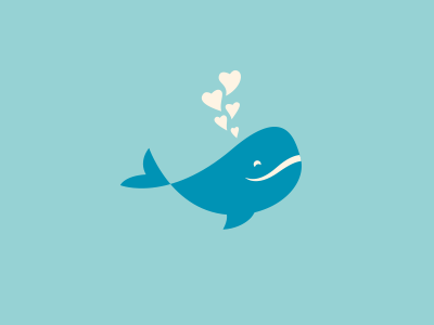 Happy Whale sparrowhale heart happy water animal whale fish icon illustration love