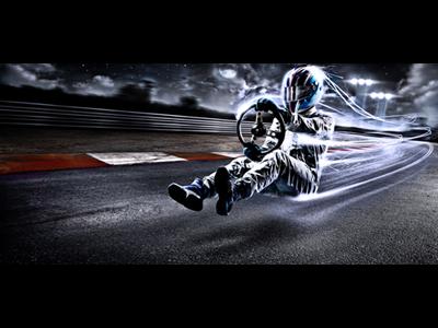 driver alex wende speed light fx effects moon asphalt street curbs lane sky driving flying helmet spark manipulation photoshop alexander wende alexwende art direction art direction