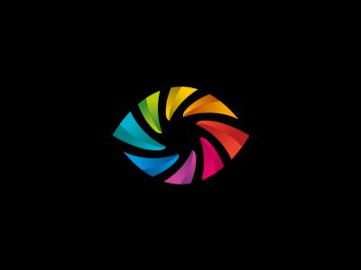 BlenderGuru mark symbol negative space guru eye colorful logo logodesign alexwende