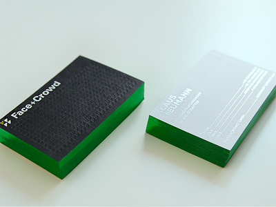 Face+Crowd Business Card silver black green foiled print business card