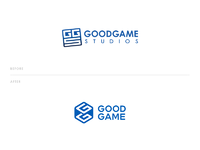 Goodgame studios logo redesign before after