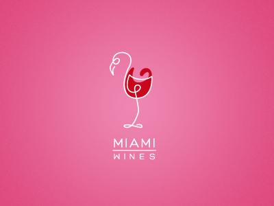 Miami Wines alex wende wine mark miami vice parody fun flamingo oneliner line animal glas wineglas logo branding identity bird alexander wende alexwende logodesign