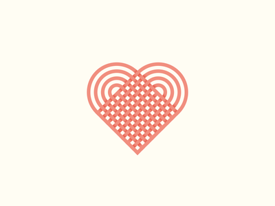 Knitted Heart logo icon love lucky lines hearts valentine valentines day