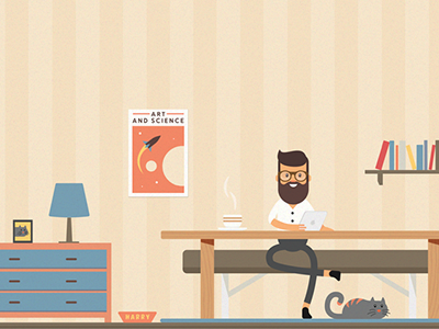 Designlover coffee science poster rocket colorful illustration cat hipster