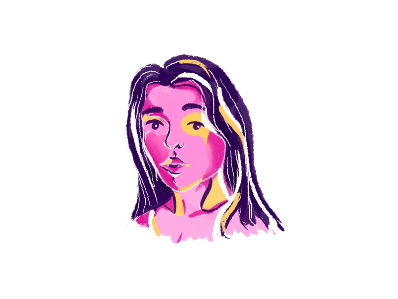 Girl portrait vector iranian portrait avatar girl character procreate ipad pro illustration iran illustrator