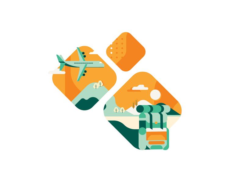 GityGard illustration city tourism green orange visual identity branding iranian nature trip airplane vector design iran illustration illustrator