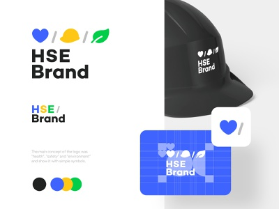 HSE Brand Logo helmet health environment safety black blue visual identity iranian design typography vector persian responsive logo mark icon logo iran branding