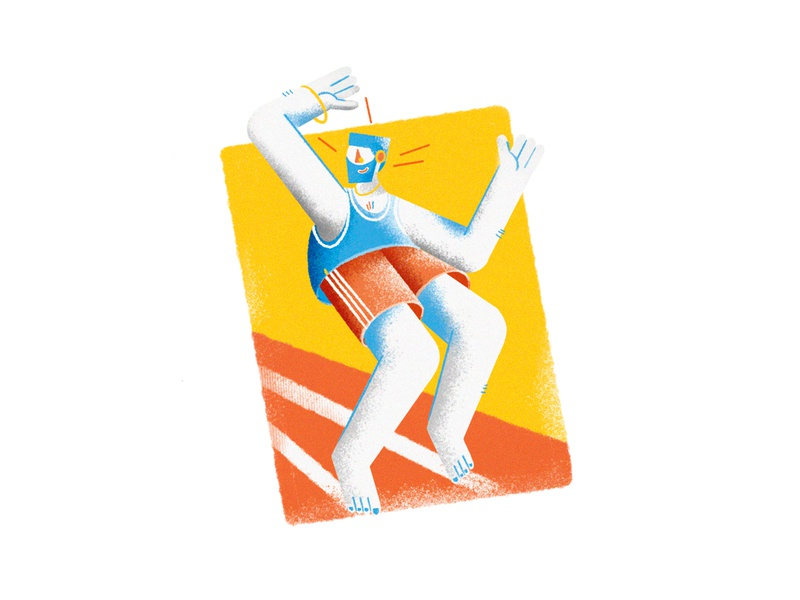 Happy Runner man men athlete orange yellow sport run boy persian apple pencil vector iran iranian ipad pro procreate design illustration illustrator