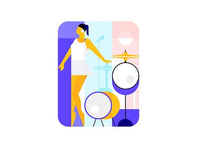 Singing Girl! drum drummer drums purple song persian iranian women singer sing girl character vector procreate iran design illustration illustrator