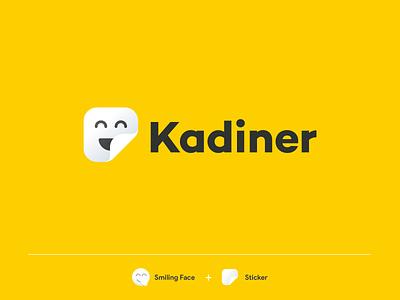 Kadiner logo design black pantone logo design shy face logo happy face smile logodesign iranian persian iran sticker papar logotype yellow mark logo