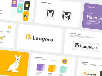 Langoro Brandbook purple pantone brandbook animal animal logo learning english kangaroo yellow logo design character iranian branding procreate iran illustration illustrator
