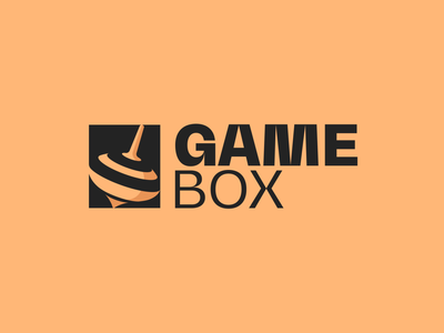 GameBox logo play mark box brand logotype persian iranian iran pantone black spinner top game icon logo