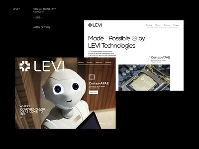 LEVI®  Data science - website portfolio grid layout grid visual identity iran persian uidesign data science robot landingpage website portfolio portfolio uiux ui website concept design