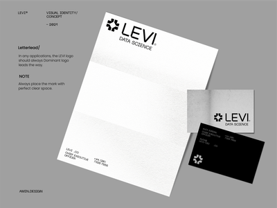 LEVI®  Data science - visual identity print data science ink leyout grid typegraphy texture paper business card mark black persian iran visual identity envelope logo