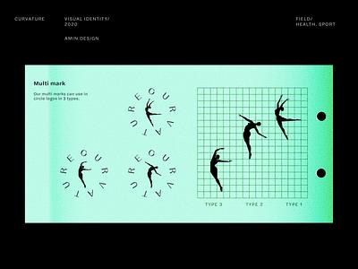 CURVATURE - Logo design brandbook brand identity human grid logo mark curve black iran persian visual identity yoga dance ballet branding logo design