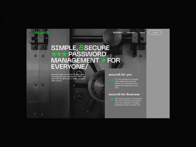 secure8 - Landing page landing page typography landscape lock green grid trust security secure password website web design hero page ui uiux layout