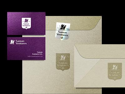 Saman Ventures - visual identity sticker animal logo animal symbol iranian iran persian mark purple paper logodesign print branding logo