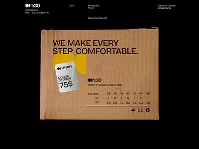1thirty - logo and visual identity shoe print box visual identity brading brand symbol mark logo