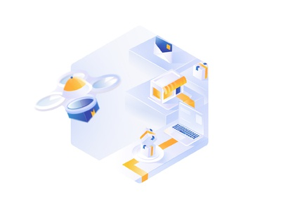 "Isometric illustration for ""Coming soon page"" 