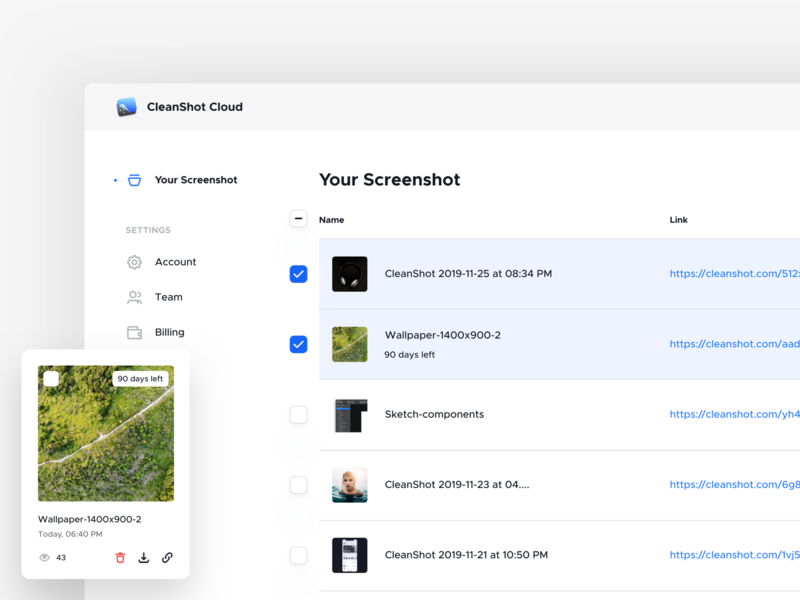 CleanShot Cloud - Dashboard component grid list view listing user interface app design records screenshot dashboard app userinterface dashboad app ux ui