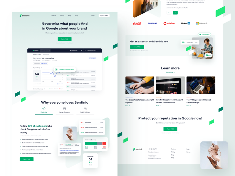 Sentinic - Homepage Landing Page landingpage website design website uidesign chart analysis product design dashboard sentiment branding design landing page app ux ui
