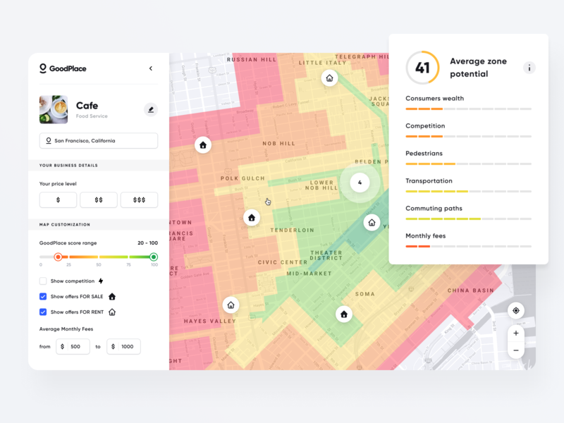 GoodPlace - Search Result - Zone interface search property house real estate booking apartment map results list dashboard app ux ui