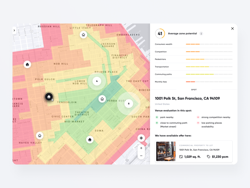GoodPlace - Search Result - Spot uidesign design clean ux ui search real estate property details map list interface house dashboard booking app apartment