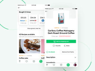Recipe App - Product page
