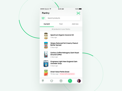 Recipe App - Products list (pantry) ux ui recipes recipe product page product mobile menu ios food dish app