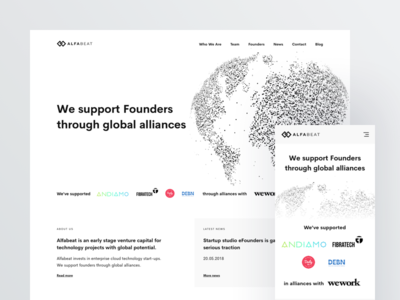 Alfabeat - Homepage ux ui minimal clean start-up venture venture capital vc page landing page