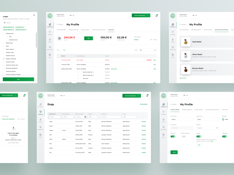 🐶 Dogs - Subpages - Dashboard user experience user design system illustration information design table profile payments design ux ui web app dashboard