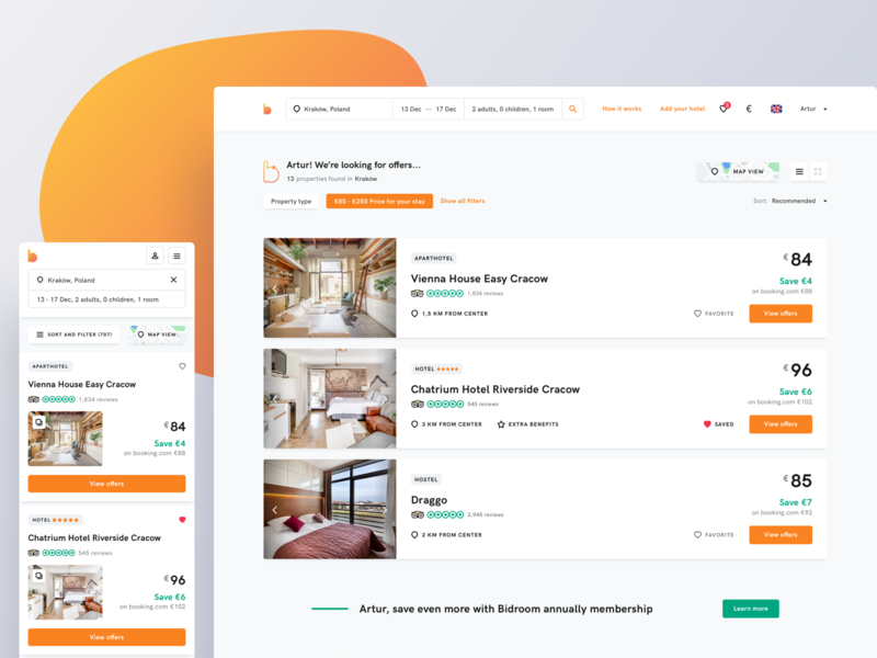 Bidroom - Listing hotels website uidesign landing minimal room rooms hotel hotels search mobile book booking listing uxdesign ui landing page