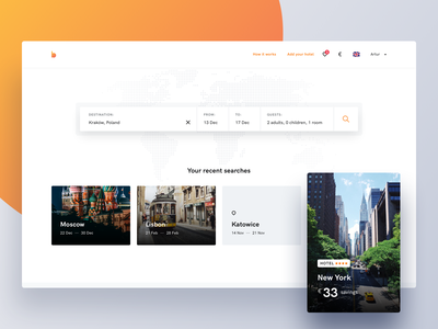 Bidroom - Search page booking hotel room hotels rooms website uxdesign uidesign clean savings deals search search bar page modern landing page