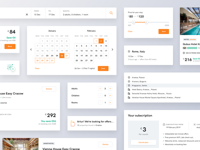 Bidroom - Components hotel design uidesigner details form subscription rooms data picker calendar search uidesign design system library component components page ux ui