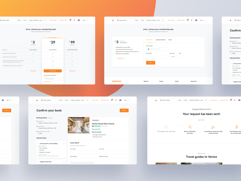 Bidroom - Booking process steps uxdesign uidesign booking system pricing form details payments booking landing page minimal ux clean ui