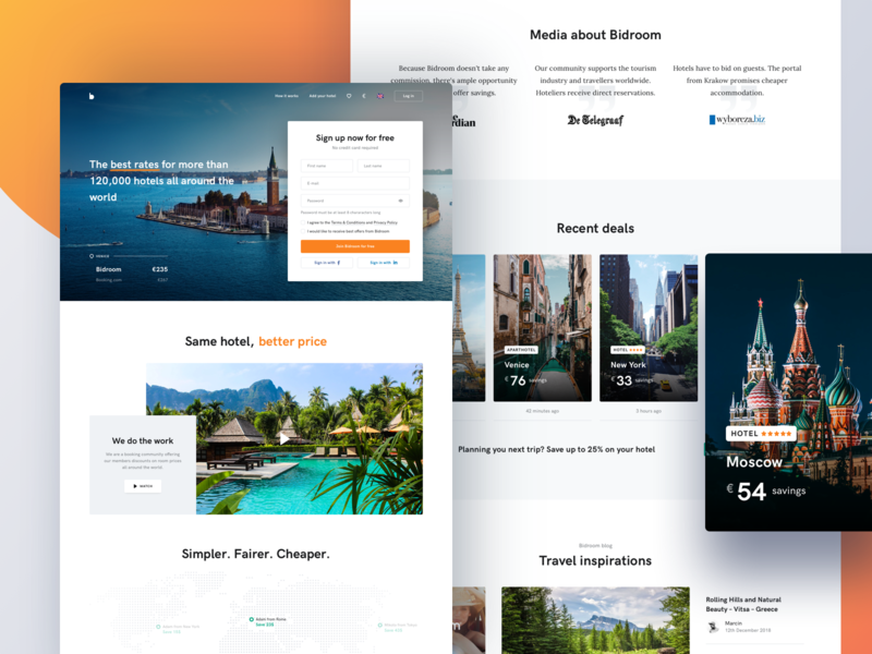 Bidroom - Landing Page blog website uxdesign uidesign homepage hotel ui ux landing page