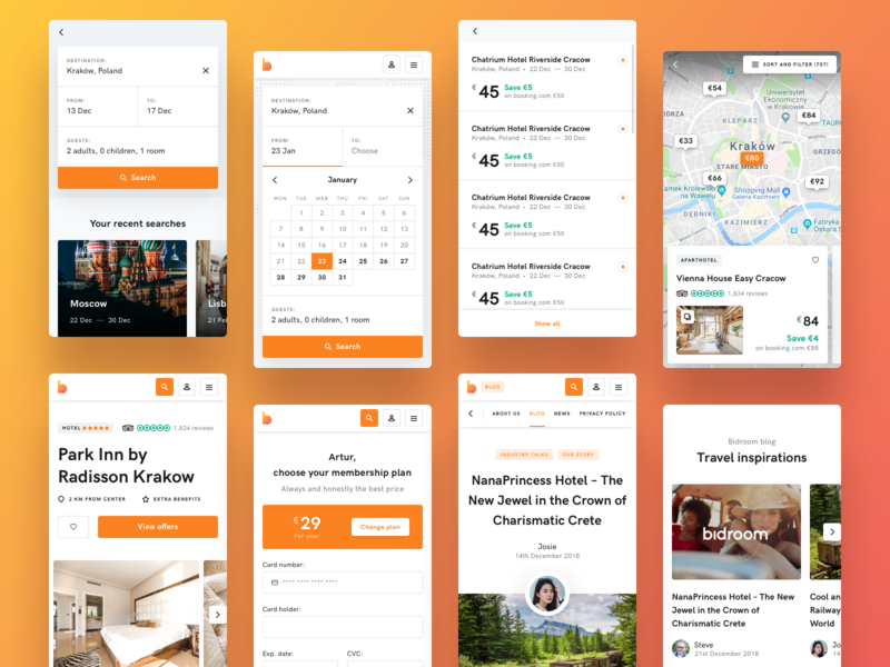 Bidroom - Mobile uxdesign uidesign mobile design booking app news room hotel maps results listing search booking rwd mobile