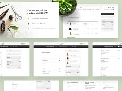 🌿 Ecospa - Checkout Process ux designer ui design payments form register login shopping cart cart checkout shop